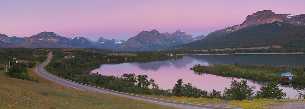 Pink dawn over the road to Glacier, Saint Mary region, the eastern gateway to Glacier National Park