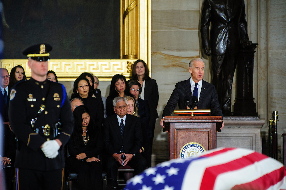 Vice President JOE BIDEN speaks in the Capitol Rotunda on Thursday during a service and public viewing of the late Senator Daniel Inouye (D-HI) who passed away at the age of 88 on December 18 at the Walter Reed National Military Medical Center in Bethesda, Md. Inouye, 88, a decorated World War II veteran and the second-longest serving senator in history will lie in state until Friday when a memorial service will be held at the National Cathedral.