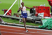 Mo Farah of Great Britain after winning the 3000m during the Sainsbury's Anniversary Games at the Queen Elizabeth II Olympic Park, London, United Kingdom on 24 July 2015. Photo by Ellie Hoad.