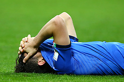 November 13, 2017 - Milan, Italy - FIFA World Cup Qualifiers play-off Switzerland v Northern Ireland.The disappointment of Alessandro Florenzi of Italy at the end of the match at San Siro Stadium in Milan, Italy on November 13, 2017. (Credit Image: © Matteo Ciambelli/NurPhoto via ZUMA Press)