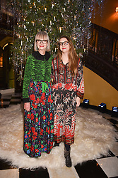 Jan de Villeneuve and Daisy De Villeneuve at reception to celebrate the launch of the Claridge's Christmas Tree 2017 at Claridge's Hotel, Brook Street, London England. 28 November 2017.