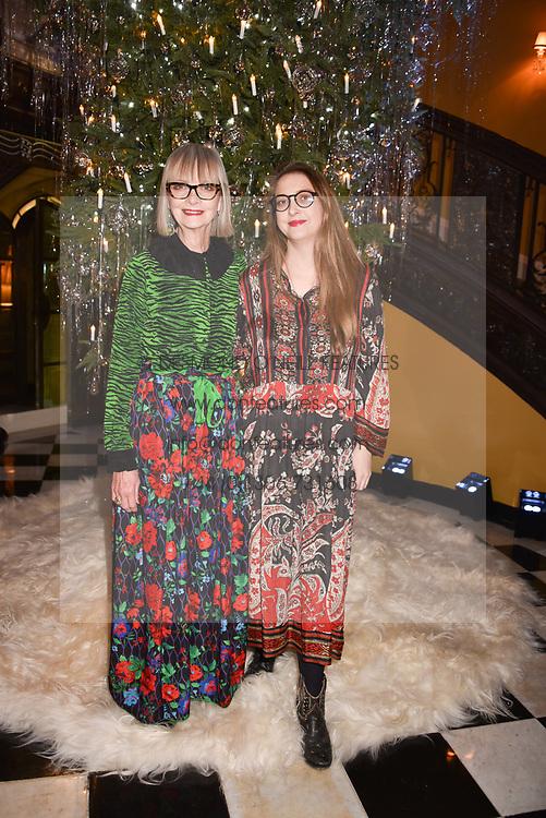Jan de Villeneuve and Daisy De Villeneuve at reception to celebrate the launch of the Claridge's Christmas Tree 2017 at Claridge's Hotel, Brook Street, London England. 28 November 2017.