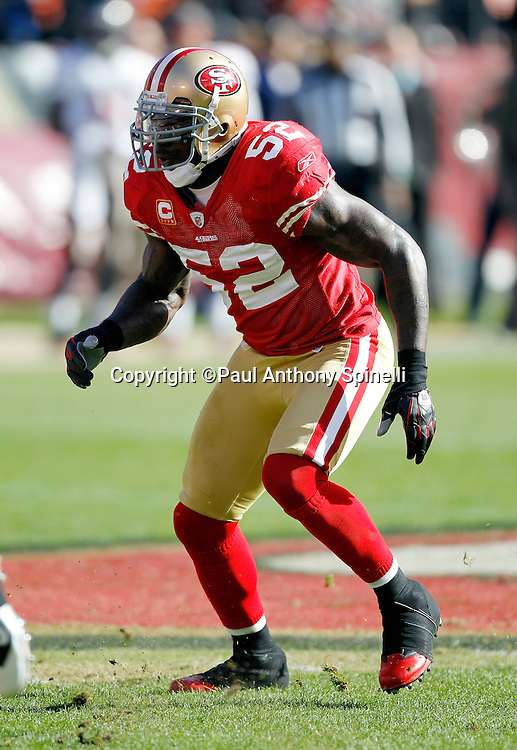 San Francisco 49ers linebacker Patrick Willis (52) makes a move during the NFL week 11 football game against the Tampa Bay Buccaneers on Sunday, November 21, 2010 in San Francisco, California. The Bucs won the game 21-0. (©Paul Anthony Spinelli)