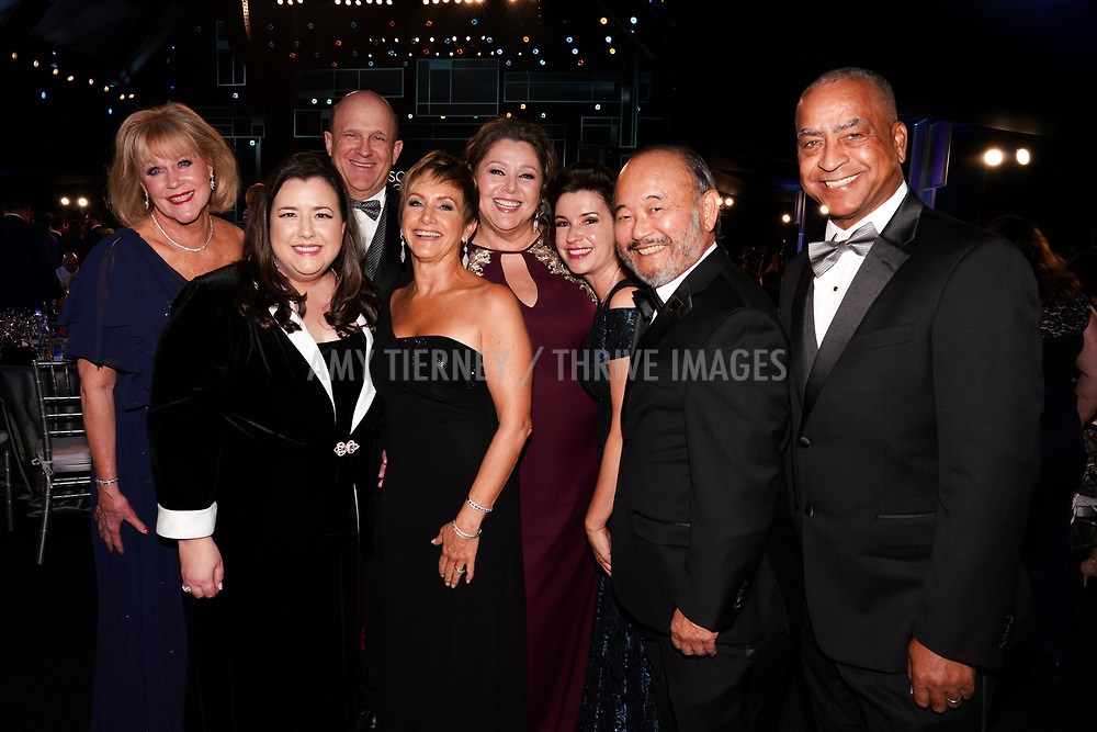 SAG-AFTRA Board Leadership Group Photo: Suzanne Burkhead, Rebecca Damon, William Charlton, Gabrielle Carteris, Camryn Manheim, Michele Proude, Clyde Kusatsu, Bob Butler