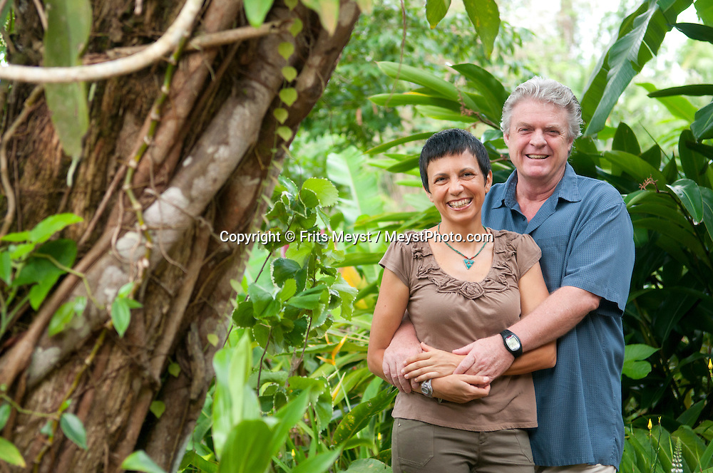 Caves Branch, Belize, May 2012. Ian and Ella Anderson, owners of the Caves Branch jungle lodge. Adventure is what Ian Anderson's Caves Branch is all about. Over the years, the Caves Branch jungle lodge has evolved from extremely rustic Jungle River Camp with outhouses and bathing in the river to 5 Star Luxury Tree Houses with roof top decks and hot tubs to relax under the stars above. Photo by Frits Meyst/Adventure4ever.com