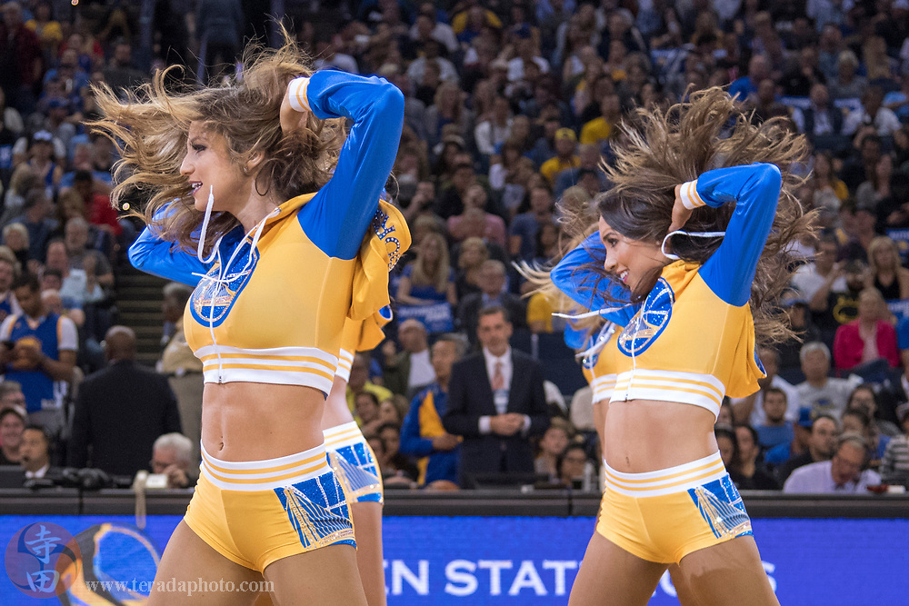 October 27, 2017; Oakland, CA, USA; Golden State Warriors Dance Team dancers Megan (left) and Sidney (right) during the third quarter against the Washington Wizards at Oracle Arena. The Warriors defeated the Wizards 120-117.