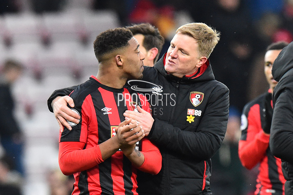 Jordan Ibe (33) of AFC Bournemouth is hugged by AFC Bournemouth manager Eddie Howe at full time after a 2-1 win over West Bromwich Albion during the Premier League match between Bournemouth and West Bromwich Albion at the Vitality Stadium, Bournemouth, England on 17 March 2018. Picture by Graham Hunt.
