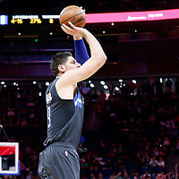 25 February 2017: Orlando Magic center Nikola Vucevic (9) takes a jump shot during the Orlando Magic 105-86 victory over the Atlanta Hawks, at the Amway Center, Orlando, Florida, USA.
