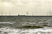 Nederland, the netherlands, Egmind, 27-8-2018 Zicht vanuit de duinen op een windmolenpark in zee . Een schip, kustvaarder vaart eraan voorbij .Foto: Flip Franssen
