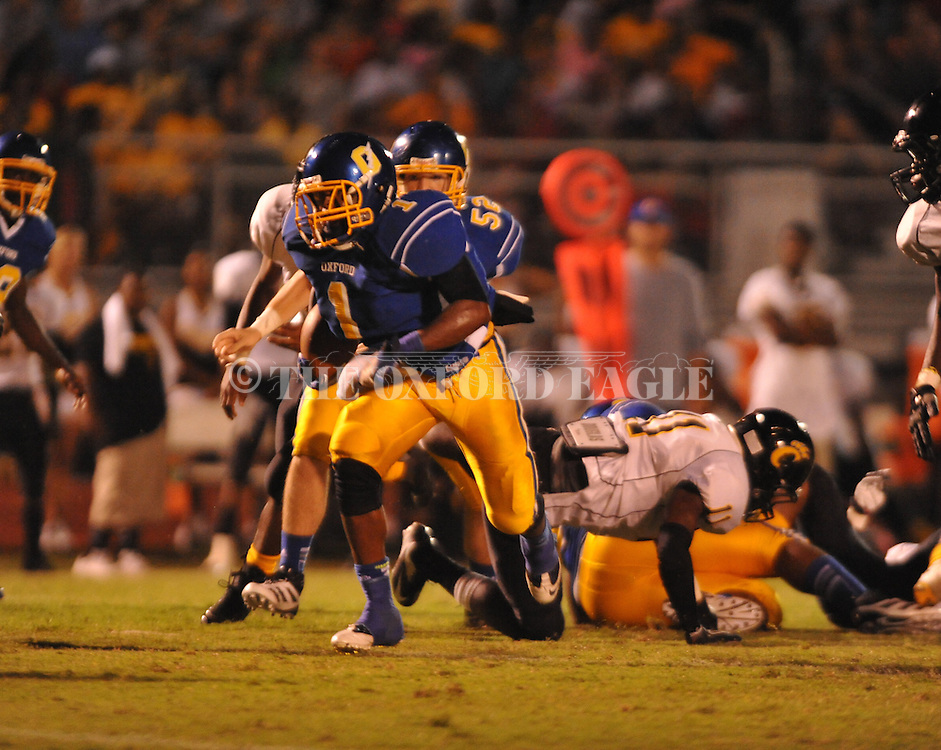 Oxford High's Jarius Barnes (1) vs. Charleston in Oxford, Miss. on Friday, August 24, 2012. Oxford won 21-18 to improve to 2-0.