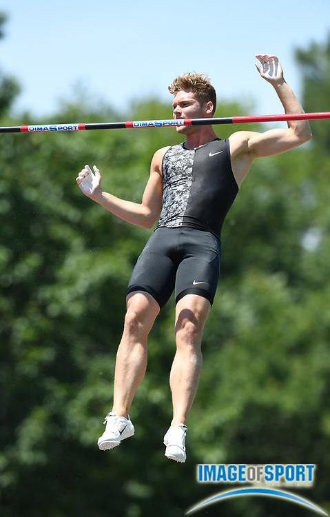 Kevin Mayer (FRA) clears 16-6 3/4 (5.05m) in the pole vault during the decathlon at the DecaStar meeting, Saturday, June 23, 2019, in Talence, France. (Jiro Mochizuki/Image of Sport)
