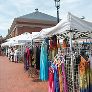 Clothes stall at Eastern Market, an historic market on Capitol Hill in Washington DC. The original market building was badly damaged by fire in 2007, and the rebuilt building was reopened in 2009.