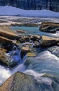 Glacial melt runoff at Grinnell Glacier. Glacier National Park, Montana.