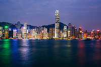 Hong Kong island at dusk.