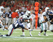 Ole Miss defensive lineman Issac Gross (94) hits Tulane's Josh Rounds (25) in the first half at the Mercedes-Benz Superdone in New Orleans, La. on Saturday, September 22, 2012. Ole Miss won 39-0...