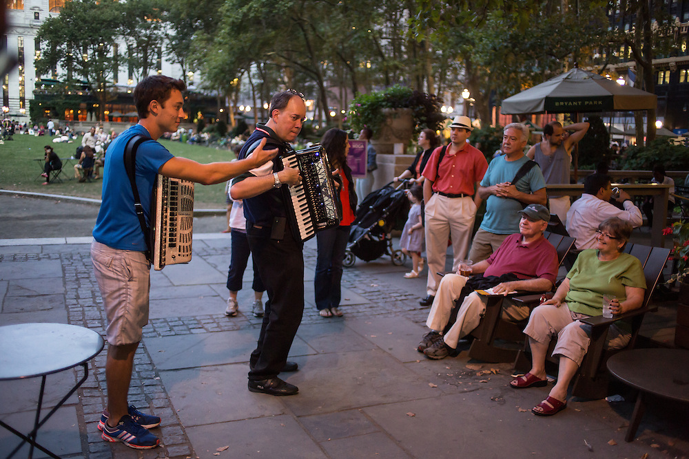 Two accordionists playing at Accordions Around the World in Bryant Park.