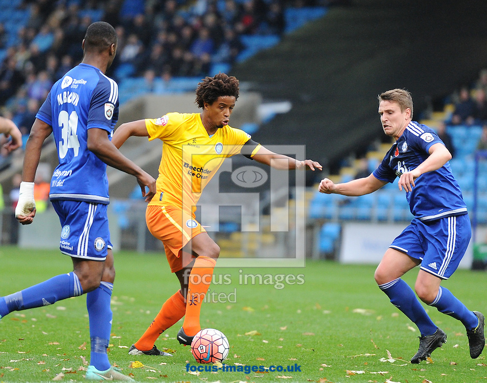 Sido Jambati of Wycombe Wanderers breaks into the box during the FA Cup match at Shay Stadium, Halifax<br /> Picture by Richard Land/Focus Images Ltd +44 7713 507003<br /> 08/11/2015