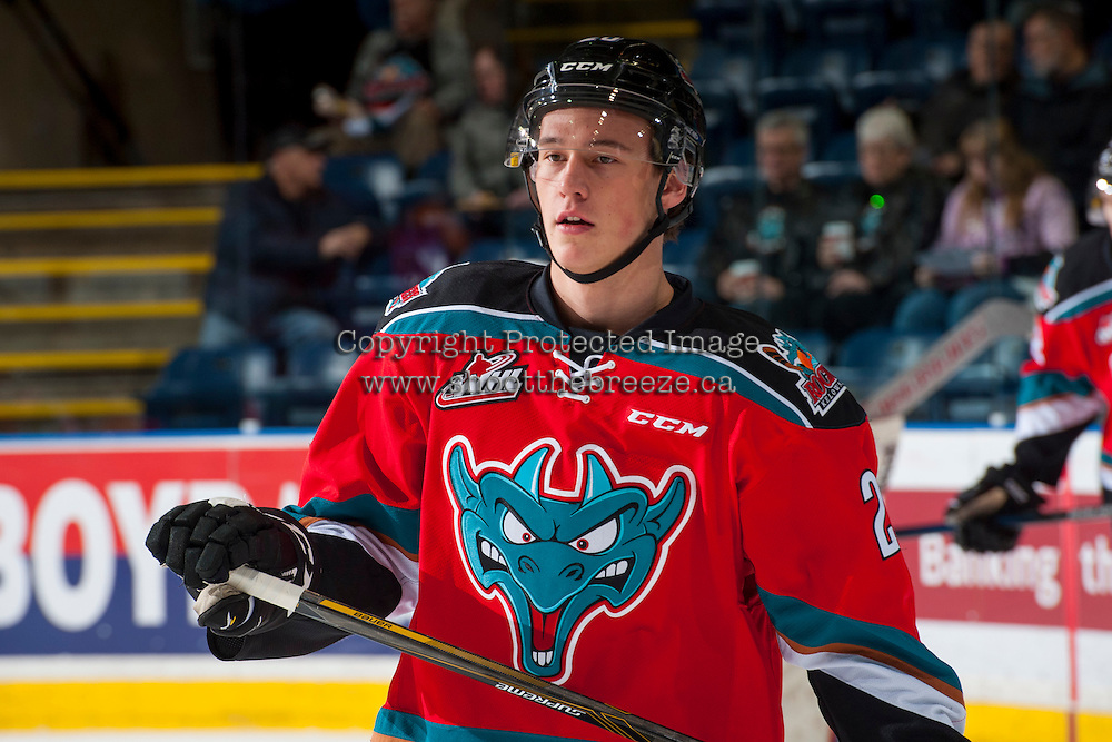 KELOWNA, CANADA - DECEMBER 3: Conner Bruggen-Cate #20 of the Kelowna Rockets warms up against the Brandon Wheat Kings on December 3, 2016 at Prospera Place in Kelowna, British Columbia, Canada.  (Photo by Marissa Baecker/Shoot the Breeze)  *** Local Caption ***
