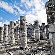 Rows of columns at the ancient Mayan ruins at Chichen Itza, Yucatan, Mexico