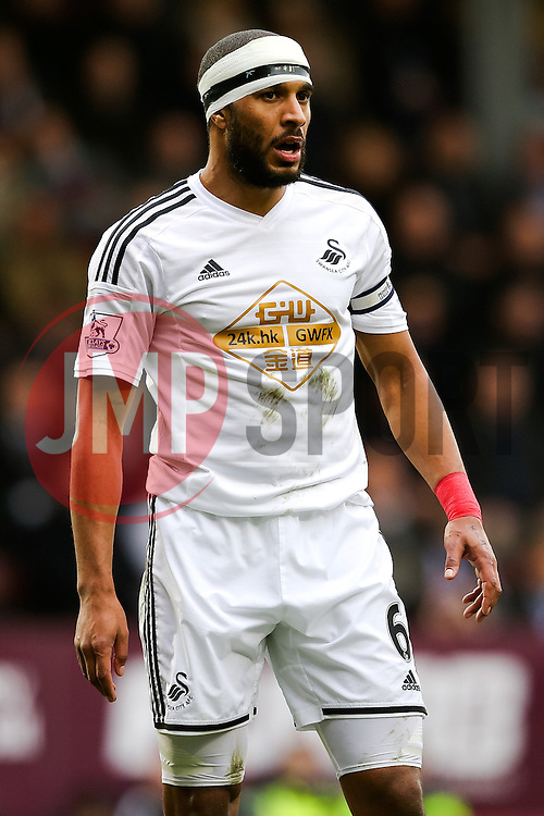 Ashley Williams of Swansea City wears a head bandage  - Photo mandatory by-line: Matt McNulty/JMP - Mobile: 07966 386802 - 28/02/2015 - SPORT - Football - Burnley - Turf Moor - Burnley v Swansea City - Barclays Premier League