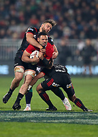 Rugby Union - 2017 British & Irish Lions Tour of New Zealand - Crusaders vs. British & Irish Lions<br /> <br /> Ben Te'o of The British and Irish Lions at AMI Stadium ia caught by Richie Mo'unga and Heiden Bedwell-Curtis of The Crusaders [Rugby League Park], Christchurch.<br /> <br /> COLORSPORT/LYNNE CAMERON