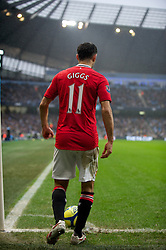 MANCHESTER, ENGLAND - Sunday, January 8, 2012: Manchester United's Ryan Giggs in action against Manchester City during the FA Cup 3rd Round match at the City of Manchester Stadium. (Pic by David Rawcliffe/Propaganda)