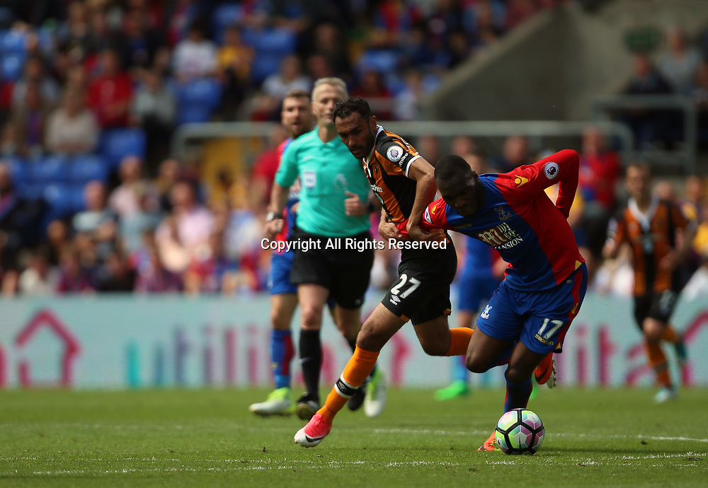 May 14th 2017, Selhurst Park, London, England; EPL Premier League football, Crystal Palace versus Hull Tigers; Benteke of Palace holds onto the ball strongly