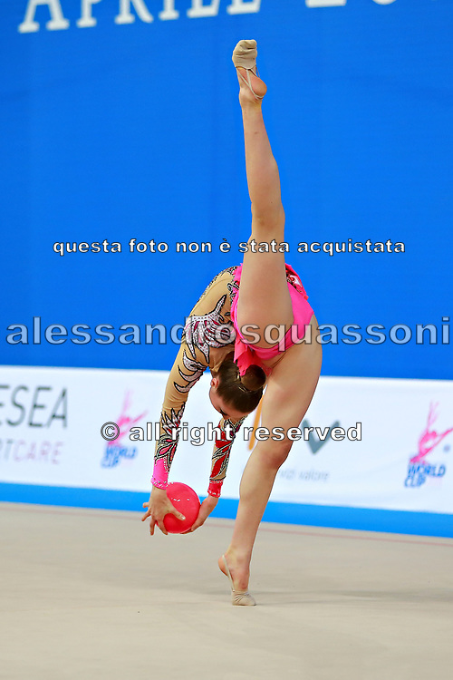 Whelan Carmen during qualifying at ball in Pesaro World Cup at Adriatic Arena on April 10, 2015. Carmen was born on  August 31,1998 in Markham. She is a Canadian individual rhythmic gymnast.