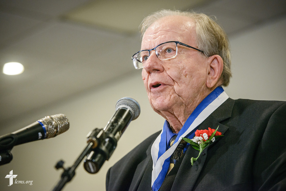"""The Rev. Dr. William Wagner, a """"Christus in Mundo (""""Christ in the World"""") award recipient, speaks at the SPM Zion XVI Conference award banquet on Saturday, Sept. 17, 2016, at the National Shrine of Our Lady of the Snows in Belleville, Ill. LCMS Communications/Erik M. Lunsford"""
