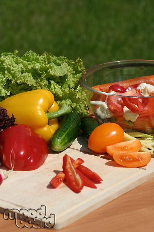 Vegetables on wooden desk - close up
