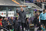 Jose Mourinho Manager of Manchester United Manager instructs substitute during the UEFA Europa League Quarter-final, Game 1 match between Anderlecht and Manchester United at Constant Vanden Stock Stadium, Anderlecht, Belgium on 13 April 2017. Photo by Phil Duncan.