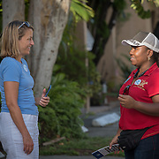 NORTH MIANI, FLORIDA, NOVEMBER 8, 2016<br /> Move On volunteers Francie Peake, left, and  Nelzenna Andrews  rehearse their talk to residents as they go around knocking on doors of homes of voters in the North Miami area as they canvass for democratic votes.<br /> (Photo by Angel Valentin/Freelance)