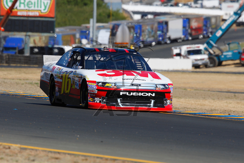 SONOMA, CA - JUN 23, 2012:  Greg Biffle (16) brings his car through turn 10 during a practice session for the Toyota Save Mart 350 at the Raceway at Sonoma in Sonoma, CA.