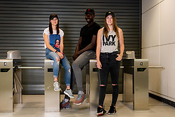 Players from Bristol Flyers Mens and Women's sides model Tokyo Time Headwear - Ryan Hiscott/JMP - 04/09/2019 - SPORT - Ashton Gate Stadium - Bristol, England - Tokyo Time - Bristol Flyers Photoshoot