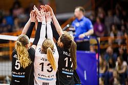 Team Calcit Ljubljana during the volleyball match between Calcit Ljubljana and Nova KBM Branik at 2017 Slovenian Women Cup Final, on March 18th, 2017, SD Planina, Kranj, Slovenia. Photo by Grega Valancic / Sportida