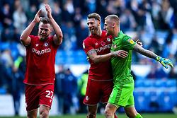 Tomas Kalas, Nathan Baker and Dan Bentley of Bristol City celebrate after beating Cardiff City - Mandatory by-line: Robbie Stephenson/JMP - 10/11/2019 -  FOOTBALL - Cardiff City Stadium - Cardiff, Wales -  Cardiff City v Bristol City - Sky Bet Championship