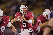PALO ALTO, CA - SEPTEMBER 11:  Trent Edwards #5 of the Stanford Cardinal plays in an NCAA football game against the Brigham Young University Cougars on September 11, 2004 at Stanford Stadium on the campus of Stanford University in Palo Alto, California.  (Photo by David Madison/Getty Images) *** Local Caption *** Trent Edwards