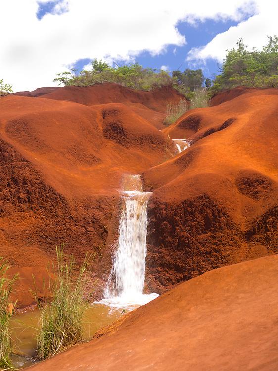 View over Red Dirt Waterfall near Waimea Canyon, Kauai, Hawai'i, USA.
