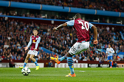 Christian Benteke of Aston Villa scores a goal to make it 1-1 - Photo mandatory by-line: Rogan Thomson/JMP - 07966 386802 - 07/04/2015 - SPORT - FOOTBALL - Birmingham, England - Villa Park - Aston Villa v Queens Park Rangers - Barclays Premier League.