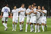 """Foto: Jonathan Moscrop - LaPresse<br /> 05 04 2011 Milano ( Italia )<br /> Sport Calcio<br /> FC Inter vs FC Shalke 04 - UEFA Champions League 2010-2011 Quarti di finale andata - Stadio Giuseppe Meazza """"San Siro"""" di Milano<br /> Nella foto: esultanza del Shalke O4 dopo la rete del 2-2 di Edu<br /> <br /> Photo: Jonathan Moscrop - LaPresse<br /> 05 04 2011 Milan ( Italy )<br /> Sport Soccer<br /> FC Internazionale Milano versus FC Shalke 04 - UEFA Champions League 2010-2011 Quarter final 1st leg - Giuseppe Meazza """"San Siro"""" Stadium Milan<br /> In the Photo: FC Shalke 04 players celebrate after Edu's goal levelled the game at 2-2"""