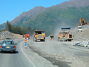 Alaska. Seward highway. Bird Point. Construction crews rebuild road and parking lot along Seward highway.
