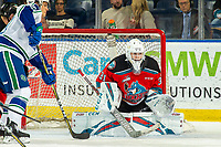 KELOWNA, BC - OCTOBER 16: Cole Schwebius #31 of the Kelowna Rockets defends the net against the Swift Current Broncos  at Prospera Place on October 16, 2019 in Kelowna, Canada. (Photo by Marissa Baecker/Shoot the Breeze)