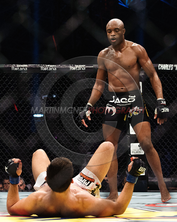 """ABU DHABI, UNITED ARAB EMIRATES, APRIL 10, 2010: Anderson Silva (black/yellow trunks) and Demian Maia (white shorts) are pictured at """"UFC 112: Invincible"""" inside Ferari World, Abu Dhabi on April 10, 2010"""