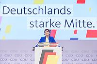 22 NOV 2019, LEIPZIG/GERMANY:<br /> Annegret Kramp-Karrenbauer, CDU Bundesvorsitzende und Bundesverteidigungsministerin, haelt eine Rede zur Eroeffnung, CDU Bundesparteitag, CCL Leipzig<br /> IMAGE: 20191122-01-019<br /> KEYWORDS: Parteitag, party congress