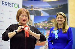 © Licensed to London News Pictures.  09/06/2017; Bristol, UK. General Election 2017; KERRY MCCARTHY wins Bristol East for Labour at City of Bristol Academy, beating Tory candidate THEO CLARKE. Picture credit : Simon Chapman/LNP