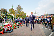 DRIEL -  King  Willem Alexander  with resident Komorowski of Poland . <br /> King  Willem Alexander attent  on Saturday, September 20th in Driel the 70th commemoration in memory of the contribution of the 1st Polish Independent Parachute Brigade at the Battle of Arnhem. Even President Komorowski of Poland and Minister of Defence Hennis-Plasschaert be present and hold a speech during the memorial. COPYRIGHT ROBIN UTRECHT