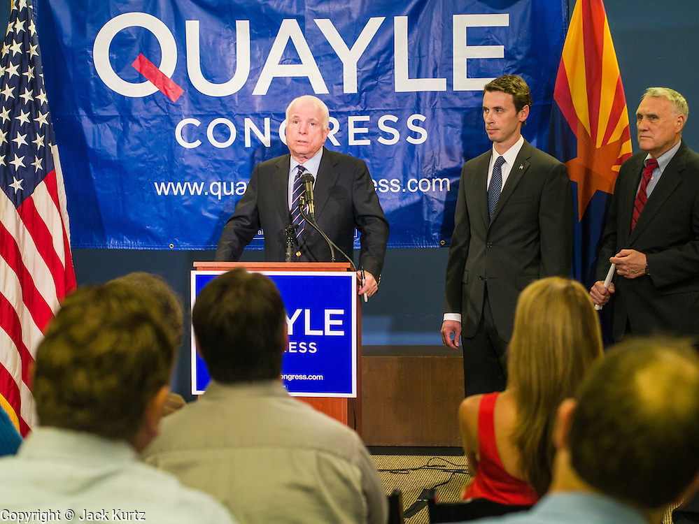 15 AUGUST 2012 - PHOENIX, AZ:   Sen. JOHN MCCAIN Rep BEN QUAYLE and Sen JON KYL at a press conference Wednesday. Arizona's Republican US Senators, John McCain and Jon Kyl, announced their endorsement of Congressman Ben Quayle (R-AZ) during a press conference in Phoenix Wednesday. They decried the campaign being run by Quayle's opponent, Congressman David Schweikert (R-AZ). Both Quayle and Schweikert are freshman Congressmen from neighboring districts. They were thrown into the same district during the redistricting process and are now waging a bitter primary fight against each other.  PHOTO BY JACK KURTZ