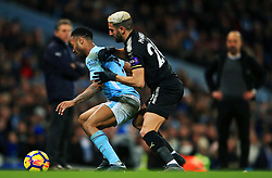 Riyad Mahrez of Leicester City challenges Raheem Sterling of Manchester City - Mandatory by-line: Matt McNulty/JMP - 10/02/2018 - FOOTBALL - Etihad Stadium - Manchester, England - Manchester City v Leicester City - Premier League