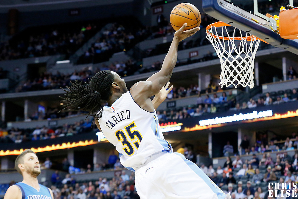 06 March 2016: Denver Nuggets forward Kenneth Faried (35) goes for the layup during the Denver Nuggets 116-114 overtime victory over the Dallas Mavericks, at the Pepsi Center, Denver, Colorado, USA.