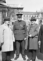 R4394<br /> Three men pictured at Merchants Quay Four Courts Garrison. April 3 1966. <br /> (Part of the Independent Newspapers Ireland/NLI Collection)